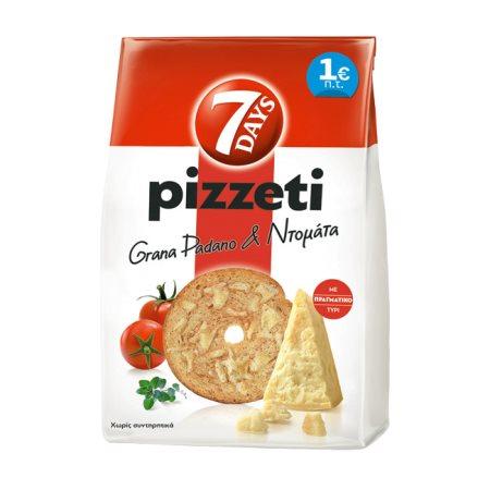 7DAYS Pizzeti Παξιμαδάκια Τυρί Γκράνα Παντάνο & Ντομάτα 80gr