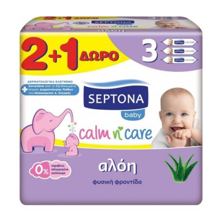 SEPTONA Μωρομάντηλα Aloe Vera 2x57τεμ +1 Δώρο