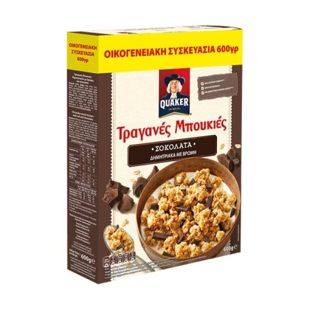 QUAKER Τραγάνες Μπουκιές Δημητριακών με Βρώμη & Σοκολάτα Υγείας 600gr