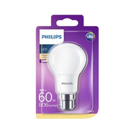 PHILIPS Λαμπτήρας Led Θερμό Φως 8-60W Β22