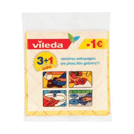VILEDA Πετσέτα Καθαρισμού 3τεμ +1 Δώρο