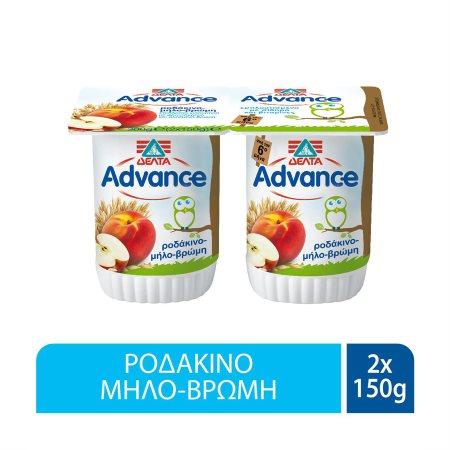 ΔΕΛΤΑ Advance Επιδόρπιο Γιαουρτιού Ροδάκινο Μήλο Βρώμη 2x150gr