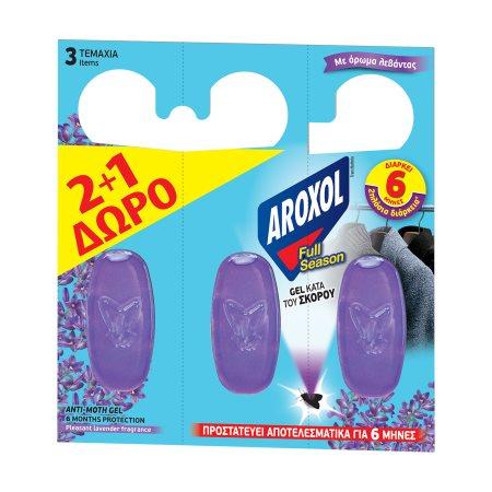 AROXOL Full Season Σκοροκτόνο Τζελ Λεβάντα 2τεμ +1 Δώρο