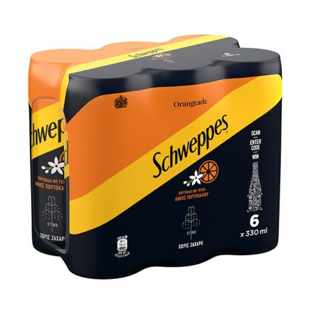 SCHWEPPES Αναψυκτικό Πορτοκαλάδα με Ανθρακικό Χωρίς ζάχαρη 6x330ml