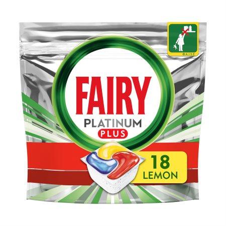 FAIRY Platinum Plus Απορρυπαντικό Πλυντηρίου Πιάτων Ταμπλέτες Λεμόνι 18τεμ