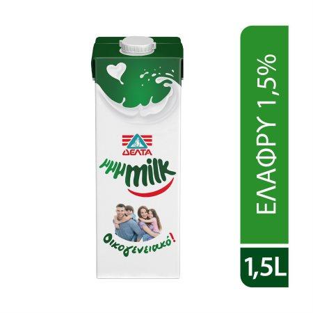 ΔΕΛΤΑ Μμμmilk Οικογενειακό Γάλα Υψηλής Παστερίωσης Ελαφρύ 1,5% 1,5lt
