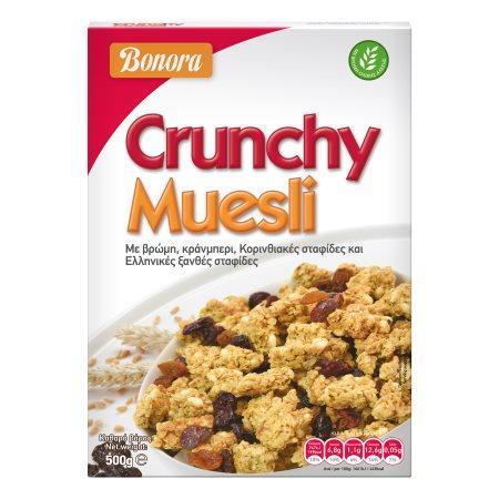 BONORA Crunchy Muesli Τραγανές Μπουκιές Δημητριακών με Βρώμη, Κράνμπερι & Κορινθιακές Σταφίδες 500gr