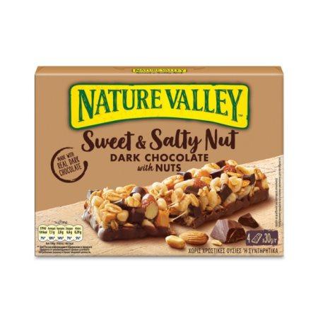NATURE VALLEY Sweet & Salty Nut Μπάρες Δημητριακών με Φιστίκια & Μαύρη Σοκολάτα 4x30gr