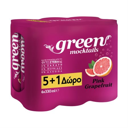 GREEN Mocktails Αναψυκτικό Pink Grapefruit με Στέβια Χωρίς Ζάχαρη 5x330ml +1 Δώρο