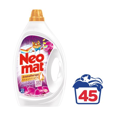 NEOMAT Aromatherapy Απορρυπαντικό Πλυντηρίου Ρούχων Υγρό Μαλαισιανή Ορχιδέα & Έλαιο Macadamia 45 πλύσεις
