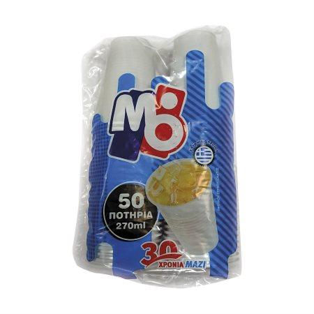 ΜΟΡΝΟΣ Ποτήρια Πλαστικά Νερού Λευκά 270ml 50τεμ