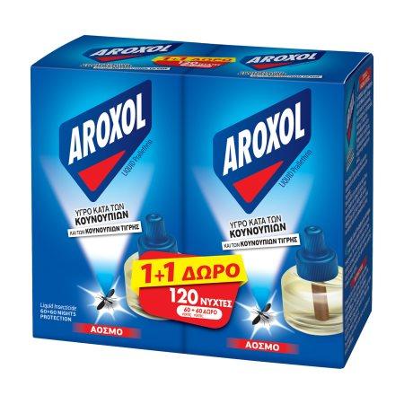 AROXOL Εντομοαπωθητικό Υγρό για 60 Νύχτες Ανταλλακτικό 45ml  +1 Δώρο