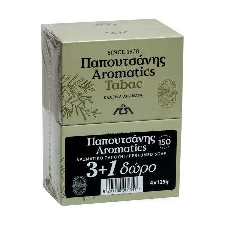 PAPOUTSANIS Aromatics Σαπούνι Tabac 3x125gr +1 Δώρο