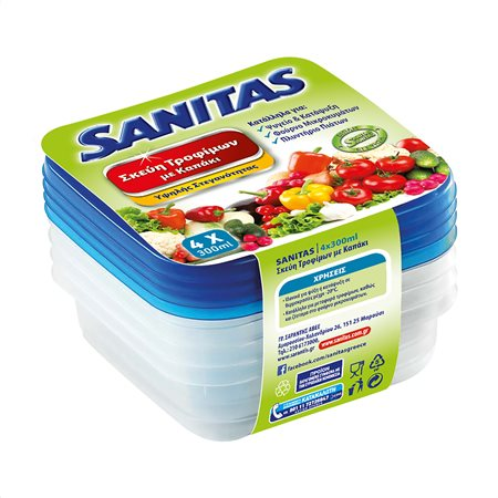 SANITAS Σκεύη Τροφίμων Πλαστικά με Καπάκι 4τεμ