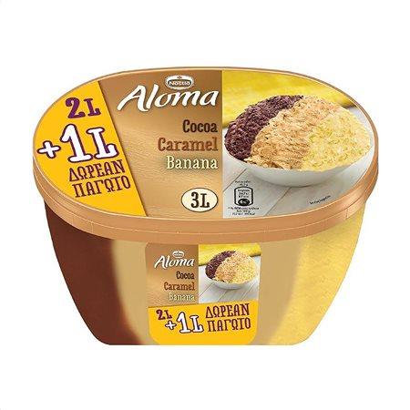 ALOMA Παγωτό Σοκολάτα Καραμέλα Μπανάνα 1kg (2lt) +455gr Δώρο
