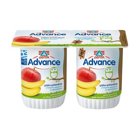 ΔΕΛΤΑ Advance Επιδόρπιο Γιαουρτιού Μήλο Μπανάνα Παιδικό 2X150gr