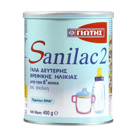 ΓΙΩΤΗΣ Sanilac 2 Γάλα 2ης Βρεφικής Ηλικίας +6 Μηνών σε σκόνη 400gr