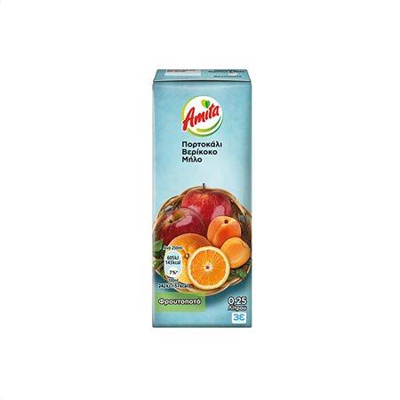 AMITA Χυμός Φρουτοποτό Πορτοκάλι Βερίκοκο Μήλο 250ml