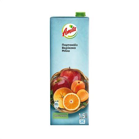 AMITA Χυμός Φρουτοποτό Πορτοκάλι Βερίκοκο Μήλο 1,5lt