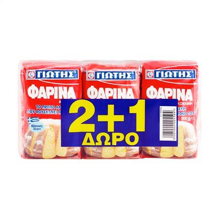ΓΙΩΤΗΣ Φαρίνα Κόκκινη 2x500gr +1 Δώρο